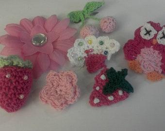 Summer SALE Set of 14 pcs newborn baby gift 7 crochet headbands 7 crochet animal & flower interchangeable toddler girl U PICK Color