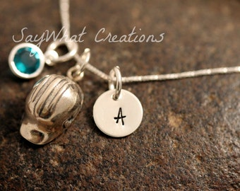 Sterling Silver Mini Initial Charm Necklace with Construction Helmet Charm and birthstone