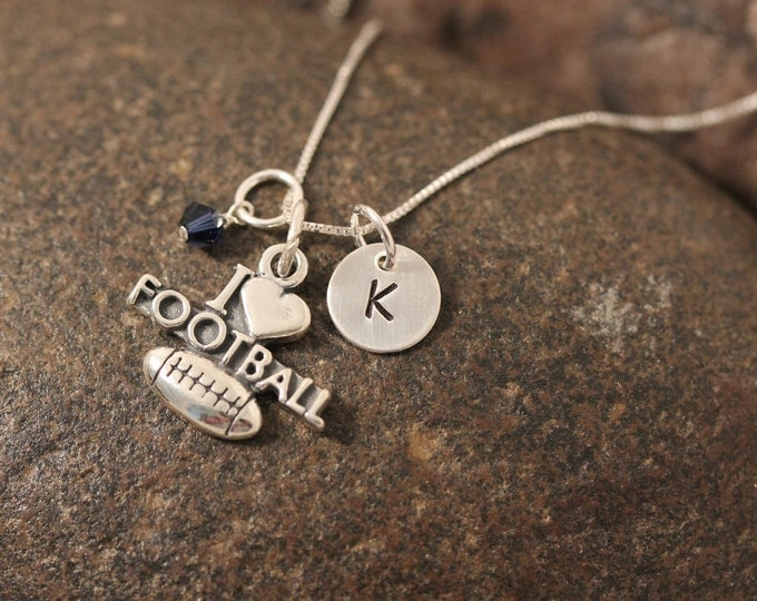Sterling Silver Mini Initial Hand Stamped Football Charm Necklace