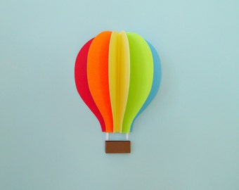 Hot Air Balloon Wall Decal, Paper Wall Art, Wall Decor, 3D Wall Art