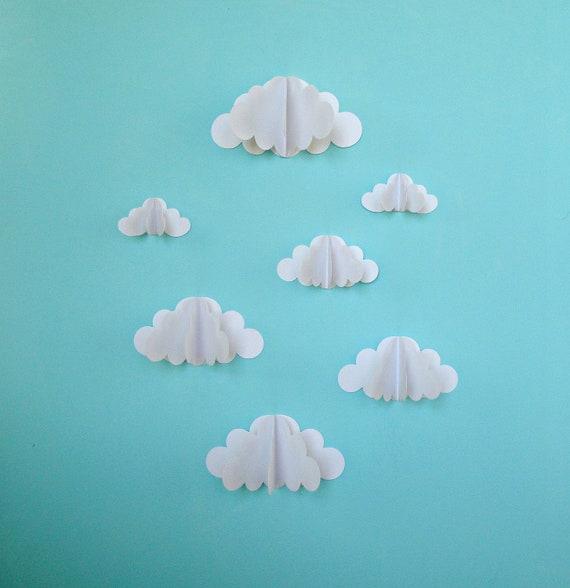 3d papier wand wolken 3d paper art wall decor wand. Black Bedroom Furniture Sets. Home Design Ideas