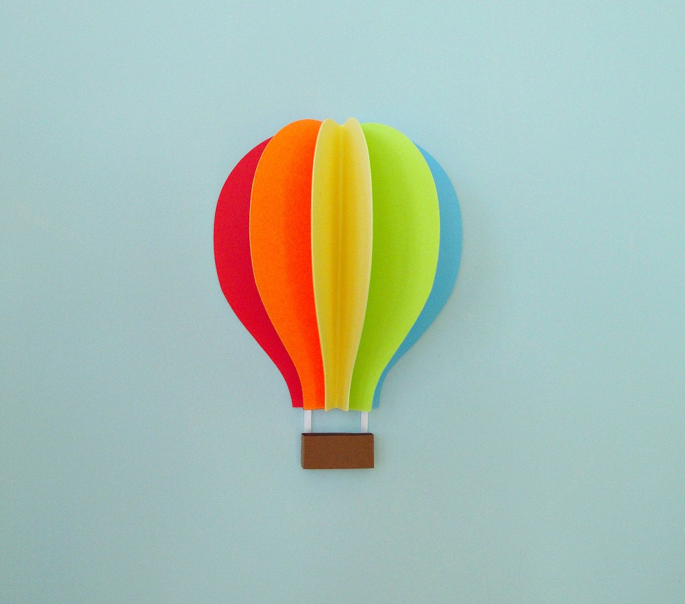 3d Wall Art Hot Air Balloon Wall Decal Paper Wall Art Wall Decor 3d
