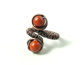 Red jasper ring, copper ring,  wire wrapped ring, antiqued rustic handmade jewelry