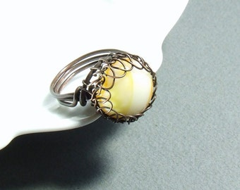 Yellow copper ring, antiqued cocktail ring, wire wrapped rustic jewelry, US size 6