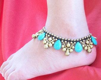Hippie Anklet -  Anklet and Turquoise Water Drop, Women anklet, Summer Anklet, Boho Anklet