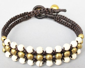 Mini Triple Row Macrame Bracelet with White Howlite Bead B185