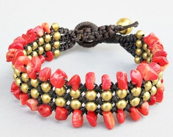 Charm Macrame Bracelet and Red Coral Stone B182