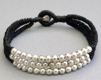 Multi Line Silver Colour Bead Black  Wax Cord Snake Knot Bracelet