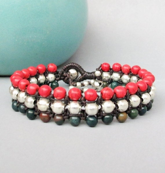 Candy Season Moss Agate and Coral Stone Triple Row Macrame Bracelet