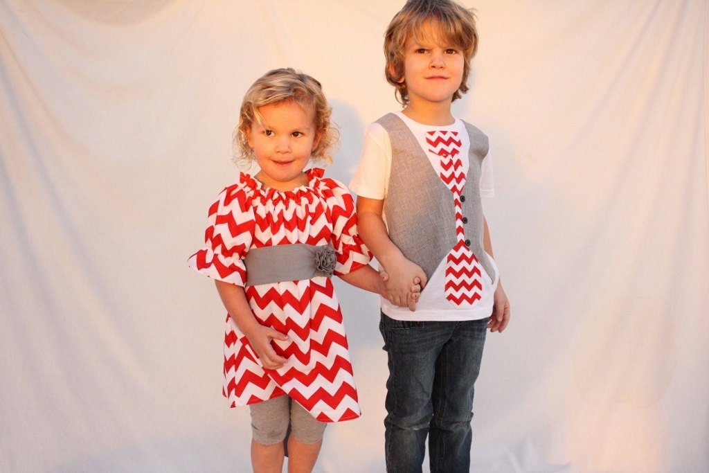 Sibling Valentines Day outfits Chevron sibling outfits