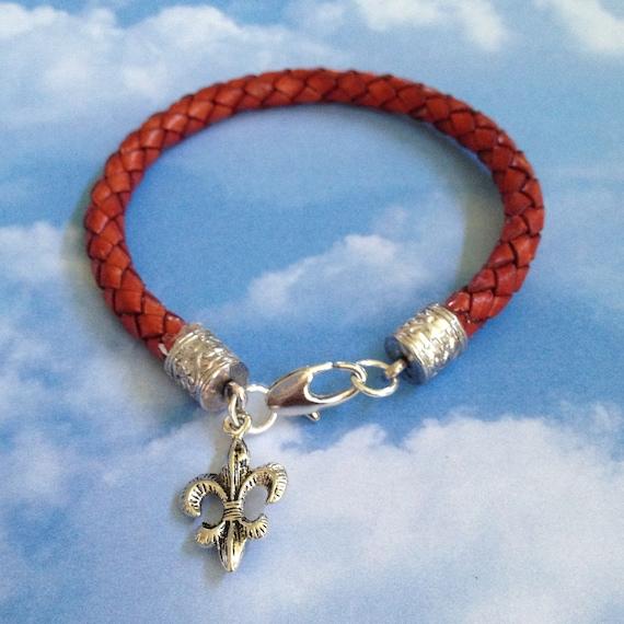 Leather Fleur de Lys Bracelet