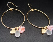 Lovely Garden Party Hoop Earrings with Gold Heart, Frosted Tear Drop, and Coral Swirl Flower