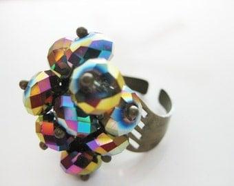 Peacock AB Swarovski Crystal Adjustable Ring