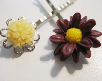 Pale Yellow Burgundy Maroon Floral Bobby Pin Set  B-12