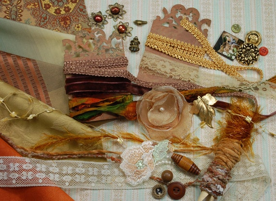 Terra cotta. Inspiration Kit. Neapolitan Collection. Textile/Embellishment Collection. Terra cotta, earthy colors and antique golds. No 70c