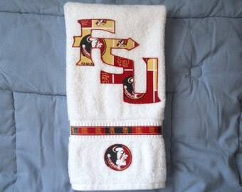 FSU, Florida State Seminoles Hand Towel for Kitchen, Bathroom, Bar or Grill, Grad Gift