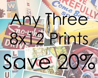 Choose Your Own Set of Three 8x12 Prints - Save 20% on Set of Three Fine Art Photographs - Personalized Affordable Home Decor