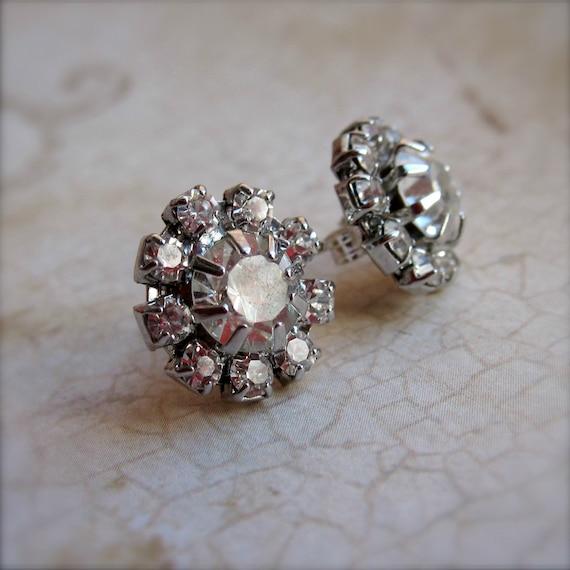 Rhinestone Earrings - Sterling Silver - Post Earrings - Sterling Studs - Crystals - Gift Under 30 - Elegant - Classic - Bridal Jewelry