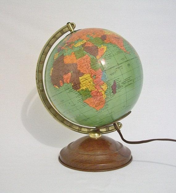 Vintage World Globe  - Scarce Small Size 1948 - Art Deco - TREASURY PICK