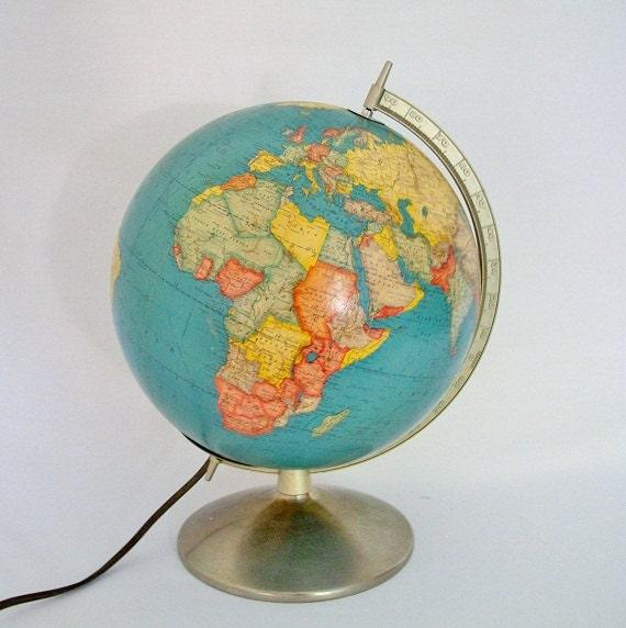 Vintage World Globe Mid Century Art Deco 1957 -  Illuminated Glass Rand McNally