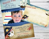 Pirate Birthday Invitation and Thank you Note-- Matey