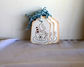 Christmas hang tag cup of hot cocoa 12 tags, Holiday gift tags, Christmas gift tags,