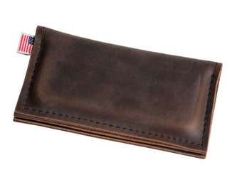 Leather iPhone Wallet - Brown - Classic plain front - 100% Full Grain Leather - Made in the U.S.A. - Free Shipping