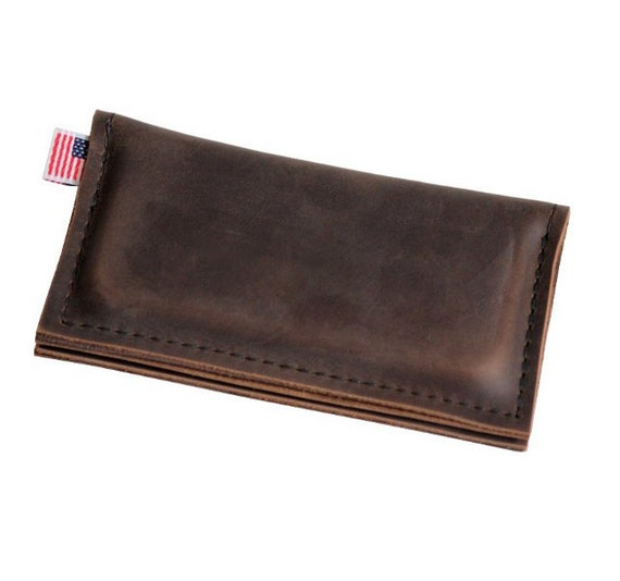 Leather iPhone 5 Wallet - Brown - Classic plain front - 100% Full Grain Leather - Made in the U.S.A. -