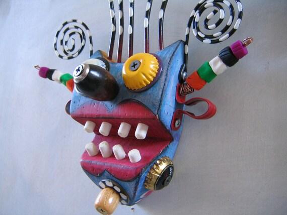 Mini Mask 20, Original Found Object Sculpture, Wall Art, by Fig Jam Studio
