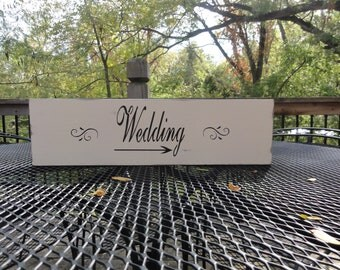 Vintage Primitive Country Beach Wedding Directional Arrow Wooden Sign