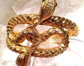 Vintage Snake Bracelet Brooch Costume Jewelry Goth Set