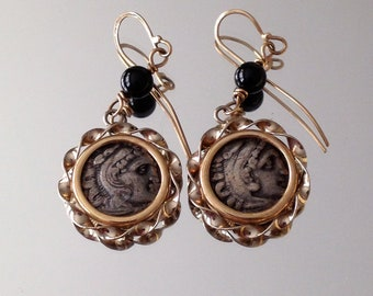 Antique Coin Earrings Macedonian  Drachma 14k Gold Coin Earrings Alexander