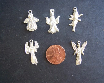 Lot of 25 ALL ANGELS Silver-Colored Milagros