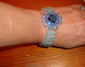 Spellbinding 5-ROW SAPPHIRE, Light & Baby Blue WIDE Vintage Rhinestone Multi-Layered Bracelet - Mint