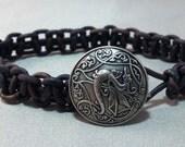 Celtic Draco Leather Macrame Bracelet, Celtic Dragon Bracelet, Celtic Bracelet
