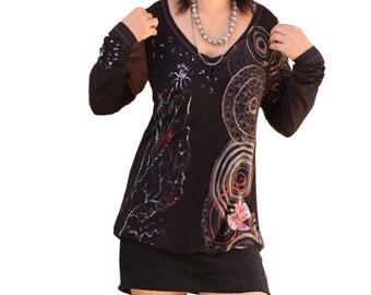 Black long shirts /upcycled women dresses/art painted Mix fabrics tunics/fancy blouses