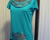 Reconstructed Recycled EcoFriendly Ethnic Ladies' Top SS Size Medium Turquoise Embellished with Turquoise Oriental Asian Fabric