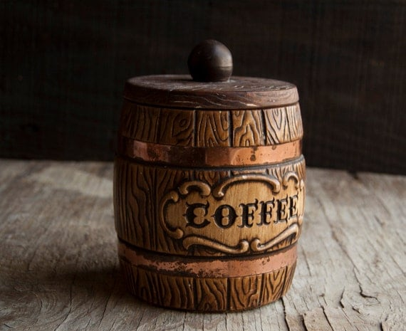 Coffee Storage Counter Jar- Vintage Wooden Ceramic