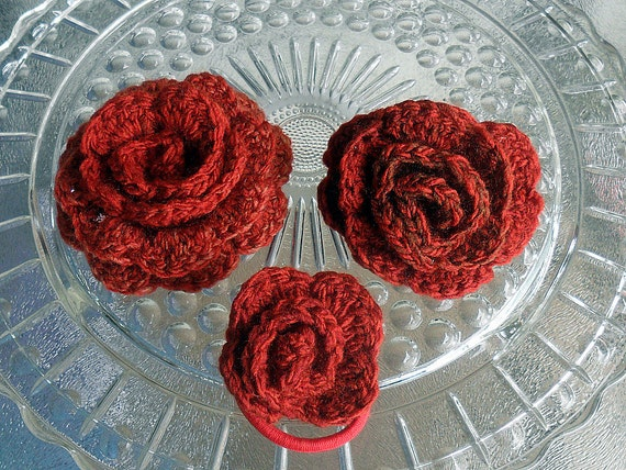 Crocheted Brooch, Barrette and PonyTail Holder Combo