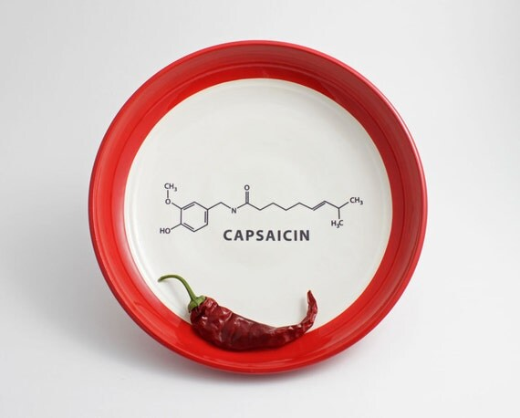 Chili Pepper Capsaicin Molecule Bowl in Red and White
