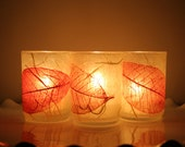 autumn fall halloween glass candle holder luminary wrapped with handmade paper
