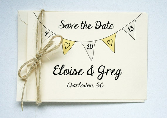 Wedding Save the Date -- Elegant Banner Flats & Envelopes in Creamy Ivory or Classic White