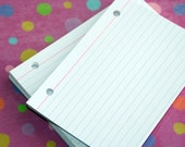Index Cards 4 x 6 Binder Refill, Hand Drilled Lined Index Cards, Punch Index Cards, LINED HOLE PUNCHED