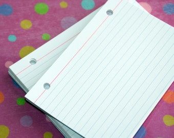 Index Cards 3 x 5 Binder Refill, Hand Drilled Unlined Index Cards, Punch Index Cards, UNLINED HOLE PUNCHED