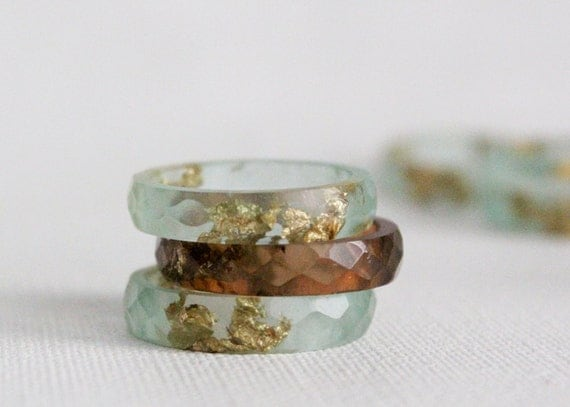 pale seaglass size 7.5 thin multifaceted eco resin ring