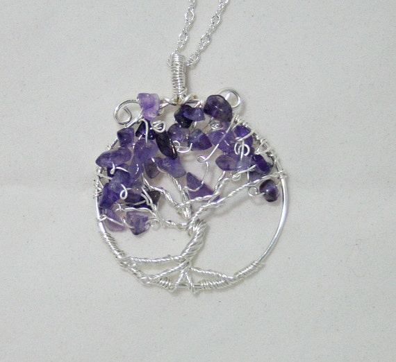 Tree of life, wire tree pendant with amethyst and chain (P4)