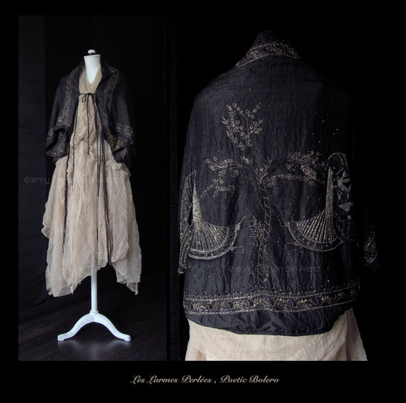Cape Hand Made In France Cropped Jacket Poetic Cape Ethnic Bohemian Jacket  Wearable Art Cape One Of A Kind