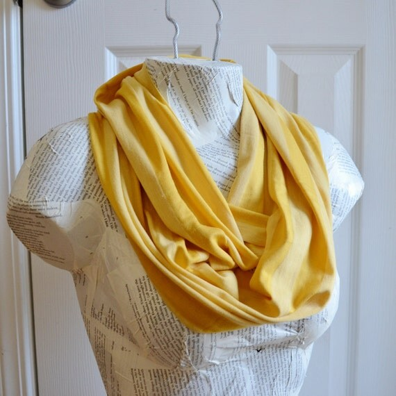 Mustard Yellow Two Toned Striped Infinity Scarf from Jersey Knit