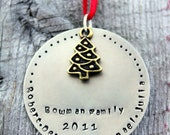Personalized Family Ornament - Personalized Ornament - Family Ornament - Christmas Ornament - Family Name - Handstamped - Holiday Ornament-