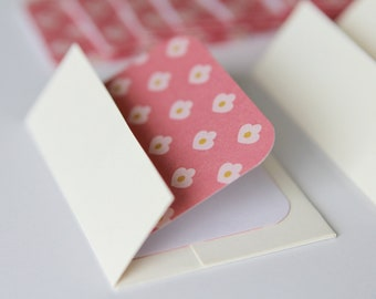 SALE Mini Cards n Envelopes - Set of 8 - Tiny Tulips in Pink with Cream